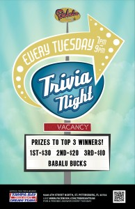 Babalu Trivia Night 7pm!