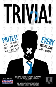 Dissent Craft Brewing Trivia at 7pm